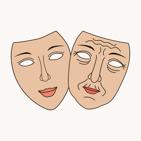 filler: Vector Facial plastic surgery concept, composition for banner or flyer, abstract isolated illustration. Old and young mask