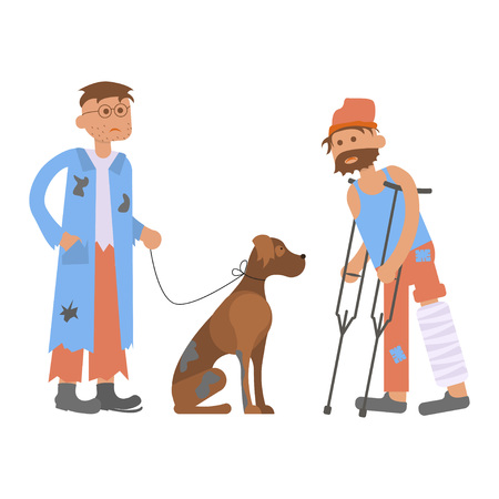 Tramp person with homeless dog in dirty ragsand and Hungry man with leg in a plaster cast, to use crutches. Ilustração