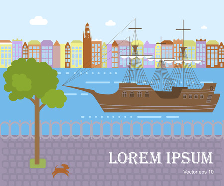 Sailing yacht in modern flat design. Wooden tall ship on town landscape for marine adventure or travel design. Illustration