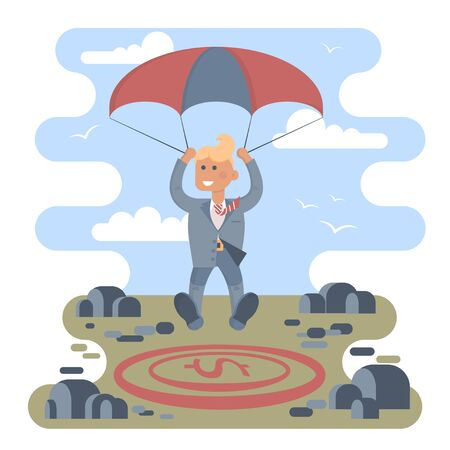 shortcut: Businessman with parachute focus to landing on a money icon target in the middle of the stones. Vector illustration business success concept. Character design.