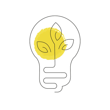 Electric light, Pollution icon illustration made in line style. Environmental protection. Web design with symbol of bulb