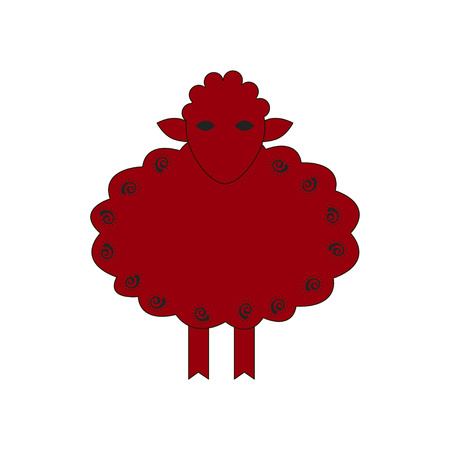 nag: Chinese zodiac symbol red sheep made by traditional Chinese paper cut arts. Isolated on white background.
