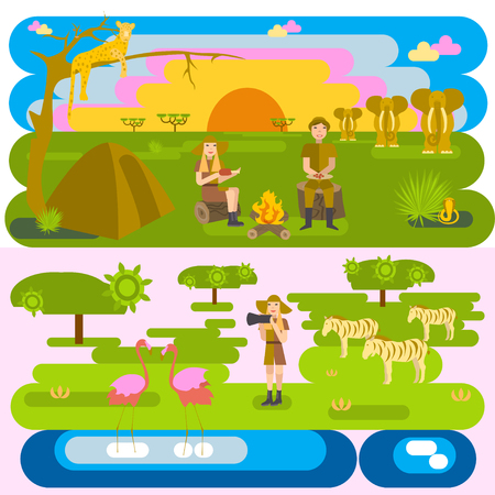 dine: African safari concept set with people and animals, flamingo, leopard, elephant, snake.Backpackers have dine in camp, sunset, photographer. Eco tourism travel. Flat isolated eps10 vector illustration