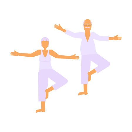 retiree: Elderly people doing exercises in different poses. Healthy active lifestyle retiree. Sport for grandparents, elder fitness, yoga for Seniors isolated on white background. Vector illustration eps10 Illustration