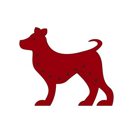 Chinese zodiac symbol red dog made by traditional Chinese paper cut arts.