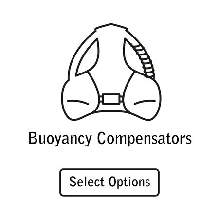 Icon buoyancy compensator scuba diving equipment in a modern style lines. Illustration