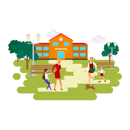 child walking: Back to school concept. Flat style vector isolated illustration of school building, with mother and student child walking to school. eps10