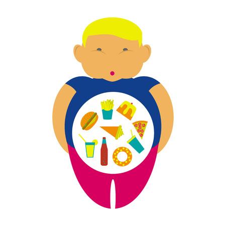 obesidad infantil: La obesidad infografía plantilla - comida rápida basura, elementos de sobrepeso en la infancia, los niños gordos. La dieta y el estilo de vida de los datos concepto de visualización del cartel. eps10 ilustración vectorial