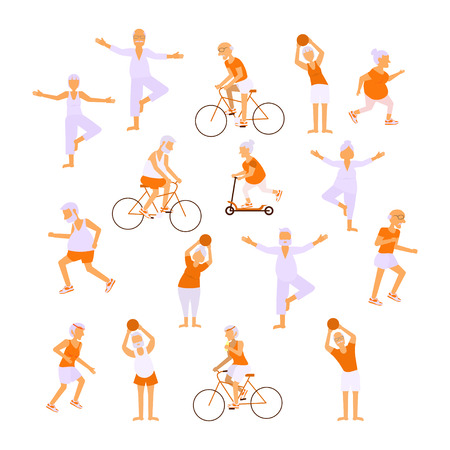 retiree: Healthy active lifestyle retiree for grandparents day infographic. Set Elderly people characters doing exercises. Sport for grandparents family Seniors isolated on white background Vector illustration Illustration