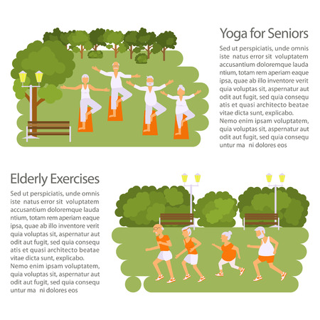 retiree: Elderly people doing exercises in different poses poster. Healthy active lifestyle retiree. Sport for grandparents, elder fitness, yoga for Seniors in park.