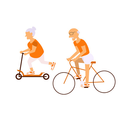retiree: Elderly people on bicycles in different poses. Healthy active lifestyle retiree.