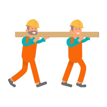 Character construction worker, two laborers bearing heavy board in flat design. Isolated on white background.