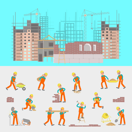 labourer: Illustration of construction site with cranes and skyscraper. Character workers, laborers in different pouses in flat design. Illustration