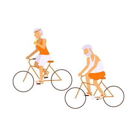Ltere Menschen auf Fahrrädern in verschiedenen Posen. Gesunde aktiven Lebensstil Pensionär. Standard-Bild - 66828235
