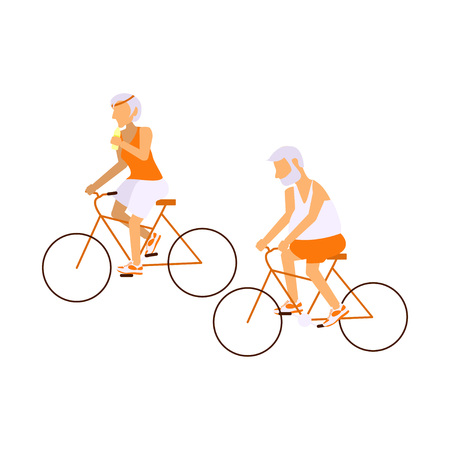 Elderly people on bicycles in different poses. Healthy active lifestyle retiree.