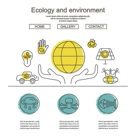Ecology and Environment Business template website. Environmental protection and pollution set of icons in thin line design. Illustration