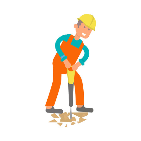 Character construction worker, pavement breaking workman, laborer Saw Concrete builds a house of bricks.