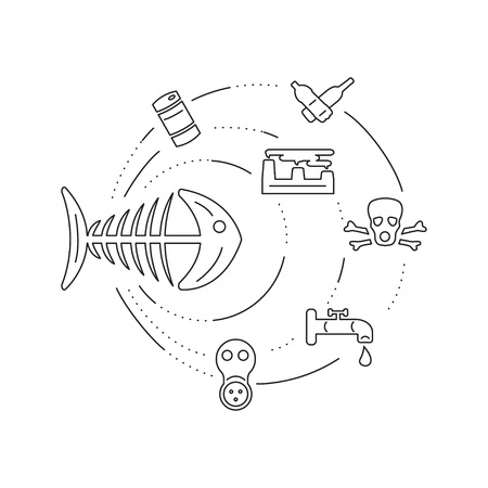 Pollution illustration made in line style. Environmental protection icon set. Web design template with symbols of planet ecology, concern for earth conservation.