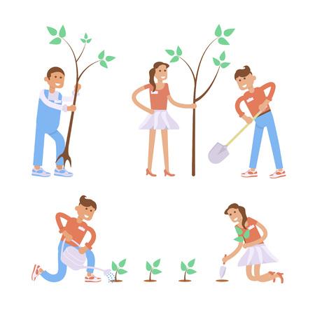 arboles caricatura: Conjunto de personajes de dibujos animados de jardinería. diseño plano creativo moderno en voluntarios jóvenes hombre y la mujer que sostiene la pala y la siembra de plantas y árboles. Vectores
