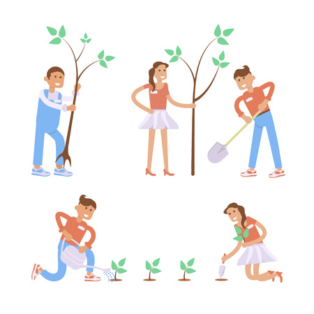 cartoon trees: Set of cartoon gardening characters. Modern creative flat design on young volunteers man and woman holding shovel and planting plants and trees.