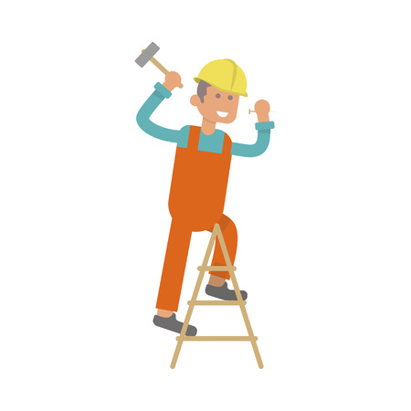 laborer: Character construction worker, laborer is hammering a nail. Isolated on white background.