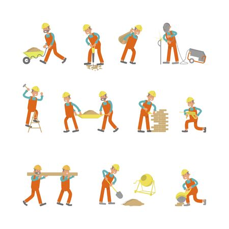 Illustration of construction workers. Characters laborers in different poses in flat design. Isolated on white background. Illustration