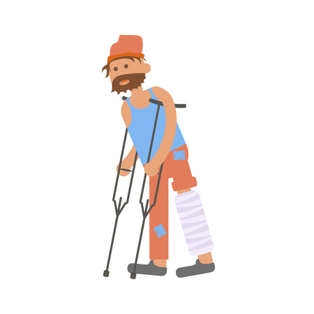 bum: Homeless. Hungry man with leg in a plaster cast, to use crutches in dirty rags. Isolated character bum for infographic.