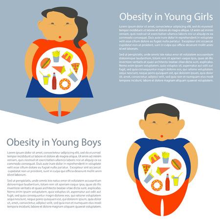 obesidad infantil: La obesidad infografía plantilla - comida rápida basura, elementos de sobrepeso en la infancia, los niños gordos. Vectores