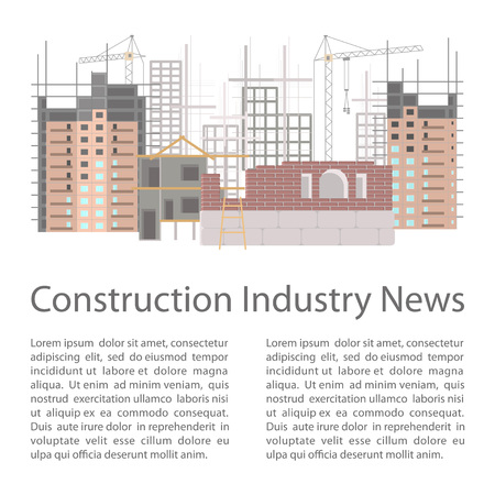 housebuilding: Illustration of construction site with cranes and skyscraper. Isolated on white background.