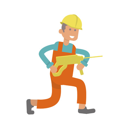 Character construction worker, laborer with perforator. Isolated on white background.