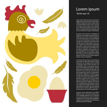 Vector Poultry farming flat icons and symbols made in vector, including egg, feather, shell, omelet. Hen products. Chicken farm elements for banner, template. Illustration