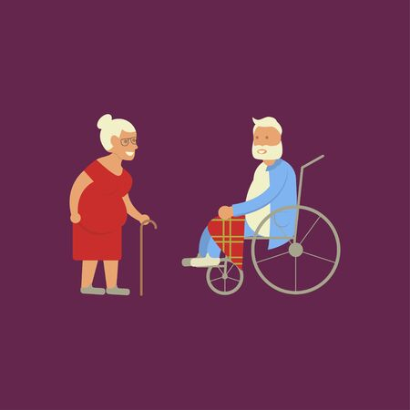 invalid: Banner of Retired elderly senior age couple in creative flat vector character design. Grandpa and grandma standing full length smiling. Grandparents with walking stick and invalid chair isolated