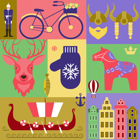 scandinavia: Vector set with elements and symbols of Sweden. Traditional Swedish souvenir, clothes, landmarks. Perfect promotion for greeting card, flyer, booklets and articles abClipart for greeting cards and fabric out Scandinavia.