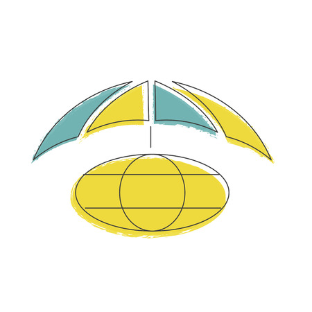 Protection of the planet from pollution icon illustration made in line style. Environmental protection. Web design with symbol of earth is covered with umbrella, concern for earth conservation. Vector eps10 Illustration