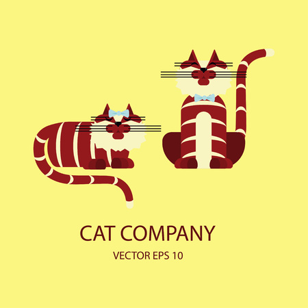 simple logo: Cat logo template in modern flat design isolated. Vector illustration simple cartoon of pet logotype.