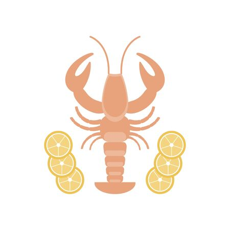 Emblem seafood restaurant on a white background with a picture of a lobster with lemon, vector illustration icon