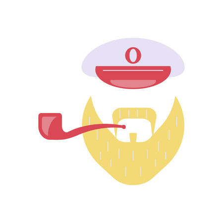 Sailor accessories icon. Captain peaked cap, pipe, beard. Isolated vector illustration on white background Illustration