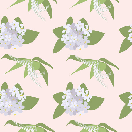 philadelphus coronarius: Seamless pattern with Orange Blossom. Flowers from an orange tree, traditionally for by the bride at a wedding. eps10 vector illustration. Illustration