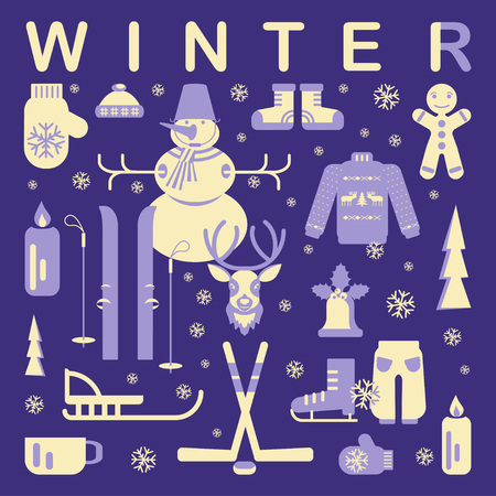 luge: Set of unique winter clothes illustrations. Clipart collection with snowman, Christmas bell, reindeer, skiing, luge, skating, snowflakes and other. Vector elements for banner design of seasonal sell.