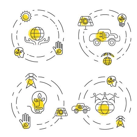 生態と環境ビジネス テンプレート web サイトのセット。細い線のデザインのアイコンの環境保護と汚染のセットです。ベクトル図 eps10