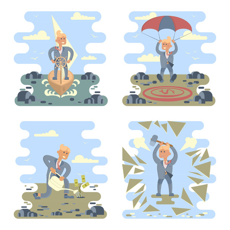 Business success concepts set. Businessman planting a money tree, stand at the wheel, breaks challenges, landing on a money icon target in the middle of the stones. Vector Character design. Illustration