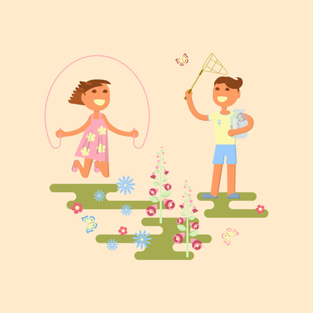kinder garden: Illustration of kids playing outdoors in summer. Baby on a flower meadow - girl with skipping rope and boy is catching butterflies with a net. Flat design of season. Vector illustration eps