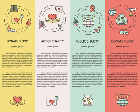 together voluntary: Charity and donation, volunteers needed concepts set for web banners, printed materials, infographics, websites. Creative icons in thin line flat design.