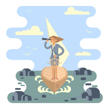 Business Woman stand at the wheel for control the boat crossing the ocean in the middle of the stones. Vector illustration business success concept. Character design Illustration