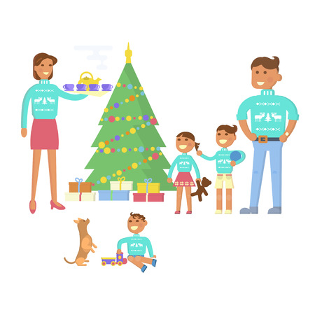 mother and baby deer: Happy family concept. Flat design Christmas Eve, mother, father, children, son, daughter, baby in the same pullover with deer. Christmas tree, gifts. Cartoon characters Illustration