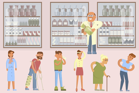 prescription bottles: Pharmacy drugstore infographic elements. Drugs icons pills capsules and prescription bottles. Flat vector male pharmacist and illnesses people set
