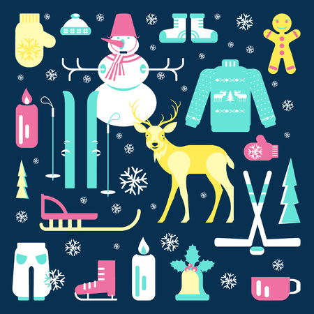 luge: Set of unique winter icons illustrations. Clipart collection with snowman, Christmas bell, reindeer, skiing, luge, skating, snowflakes and other. Vector elements for banner design of seasonal sell.