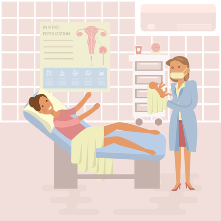 hospital ward: Happy family concept. Woman gives birth to a child. Midwife, baby on Maternity ward background. Gynecology, childbirth, People in flat design. Cartoon characters, illustration vector eps10
