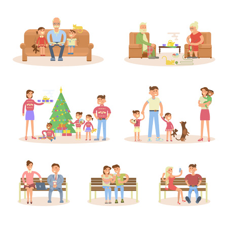 Different types of married couple set. Flat design, Happy big family - mother, father, children, son, daughter, baby, lovers, grandpa and grandma with grandchild. Cartoon characters, illustration