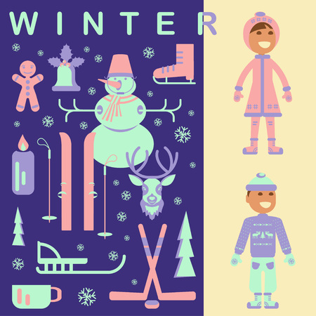 luge: Set of winter children clothes illustrations. Collection with snowman, Christmas bell, reindeer, skiing, luge, skating, snowflakes and children. Vector elements for banner design of seasonal sell.